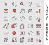 marketing icon set | Shutterstock .eps vector #747543124