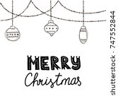 festive garland with hanging... | Shutterstock .eps vector #747552844