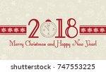 vector 2018 happy new year... | Shutterstock .eps vector #747553225
