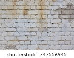white brick wall with plaster... | Shutterstock . vector #747556945