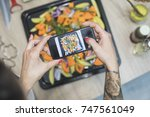 food selfie of vegetables  | Shutterstock . vector #747561049