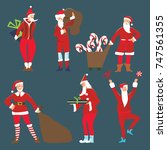 set of happy santa claus with... | Shutterstock . vector #747561355