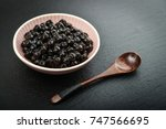 boiled tapioca pearls on black... | Shutterstock . vector #747566695