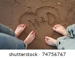 couple standing by heart with... | Shutterstock . vector #74756767