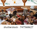 beautifully decorated catering... | Shutterstock . vector #747568627