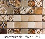 mosaic tile wall background   Shutterstock . vector #747571741