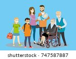 big cartoon family.father ... | Shutterstock .eps vector #747587887