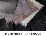 color fabric samples palette on ... | Shutterstock . vector #747588004