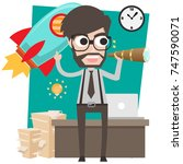 character design businessman... | Shutterstock .eps vector #747590071