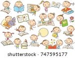 funny doodle kids with books in ... | Shutterstock .eps vector #747595177