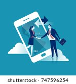 on line communication. business ... | Shutterstock .eps vector #747596254