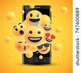different realistic smileys in... | Shutterstock .eps vector #747600889