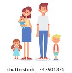 happy family together.... | Shutterstock .eps vector #747601375