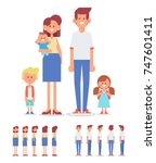 young family together   mother  ... | Shutterstock .eps vector #747601411