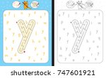 worksheet for learning alphabet ... | Shutterstock .eps vector #747601921