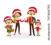 merry christmas and a happy new ... | Shutterstock .eps vector #747604795