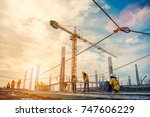 construction site and sunset  ... | Shutterstock . vector #747606229