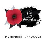 remembrance day card with we... | Shutterstock .eps vector #747607825