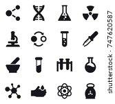 16 vector icon set   molecule ... | Shutterstock .eps vector #747620587