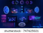 abstract futuristic science... | Shutterstock .eps vector #747625021