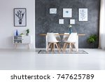 scandinavian style dining room... | Shutterstock . vector #747625789