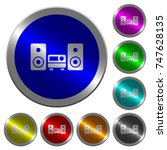 stereo system icons on round...   Shutterstock .eps vector #747628135