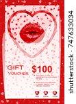 gift card  voucher  certificate ... | Shutterstock .eps vector #747633034