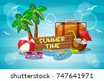 llustration summer time with... | Shutterstock . vector #747641971