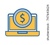 laptop with a dollar coin money ... | Shutterstock .eps vector #747643624