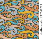 abstract colorful curly lines... | Shutterstock .eps vector #747644791