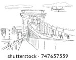 chain bridge in budapest  | Shutterstock .eps vector #747657559