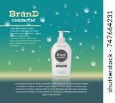 3d realistic cosmetic bottle... | Shutterstock .eps vector #747664231