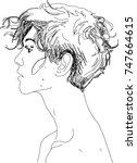 head of young man. line design | Shutterstock .eps vector #747664615
