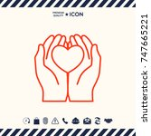 hands holding heart  ... | Shutterstock .eps vector #747665221