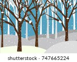 winter forest background with... | Shutterstock .eps vector #747665224