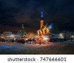 christmas market in the town... | Shutterstock . vector #747666601