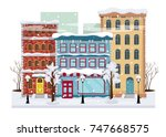 panorama of a winter city with... | Shutterstock .eps vector #747668575