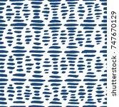 striped indigo hand painted... | Shutterstock .eps vector #747670129