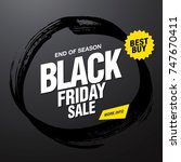 black friday sale banner layout ... | Shutterstock .eps vector #747670411