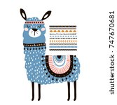 cute cartoon llama with in... | Shutterstock .eps vector #747670681