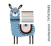 cute cartoon llama with in... | Shutterstock .eps vector #747670681