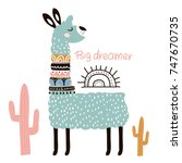 Stock vector cute cartoon llama with in tribal style childish print for nursery kids apparel poster postcard 747670735