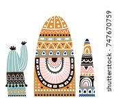 cute cactus in tribal style set.... | Shutterstock .eps vector #747670759