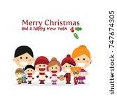 cute family singing carols at... | Shutterstock .eps vector #747674305