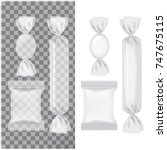 set of transparent and white... | Shutterstock .eps vector #747675115