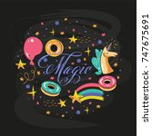 magic lettering circle template ...   Shutterstock .eps vector #747675691
