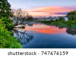 sunset forest river landscape | Shutterstock . vector #747676159