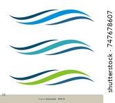water waves swoosh vector logo...   Shutterstock .eps vector #747678607