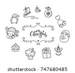 set of cute christmas icon | Shutterstock .eps vector #747680485