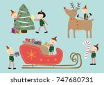 christmas elves. vector... | Shutterstock .eps vector #747680731
